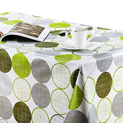 Many Designs Sage Green Many Sizes Floral Oilcloth Tablecloth Wipeclean Dot