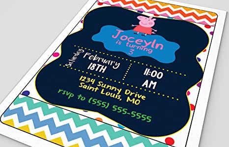 Image Unavailable Not Available For Color Customized Peppa Pig Birthday Party Invitation