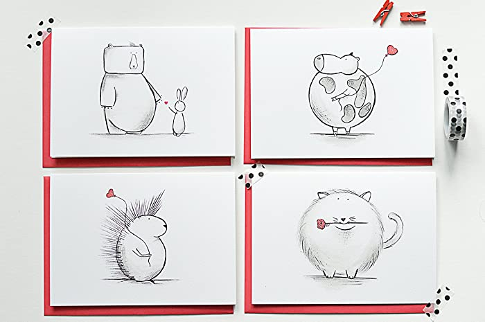 Amazon Com Set Of Valentine S Day Card Funny Cute Animal Cards