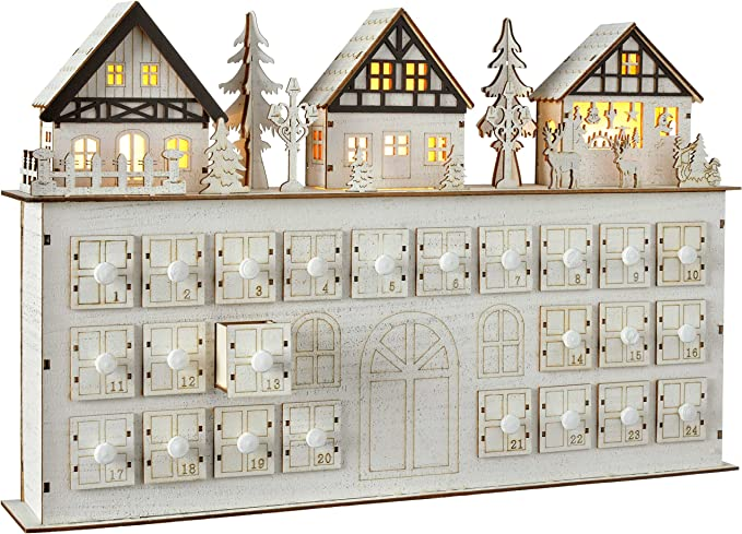 Lights4fun Inc Pre Lit Battery Operated Fold Out White Wooden Advent Calendar with Drawers