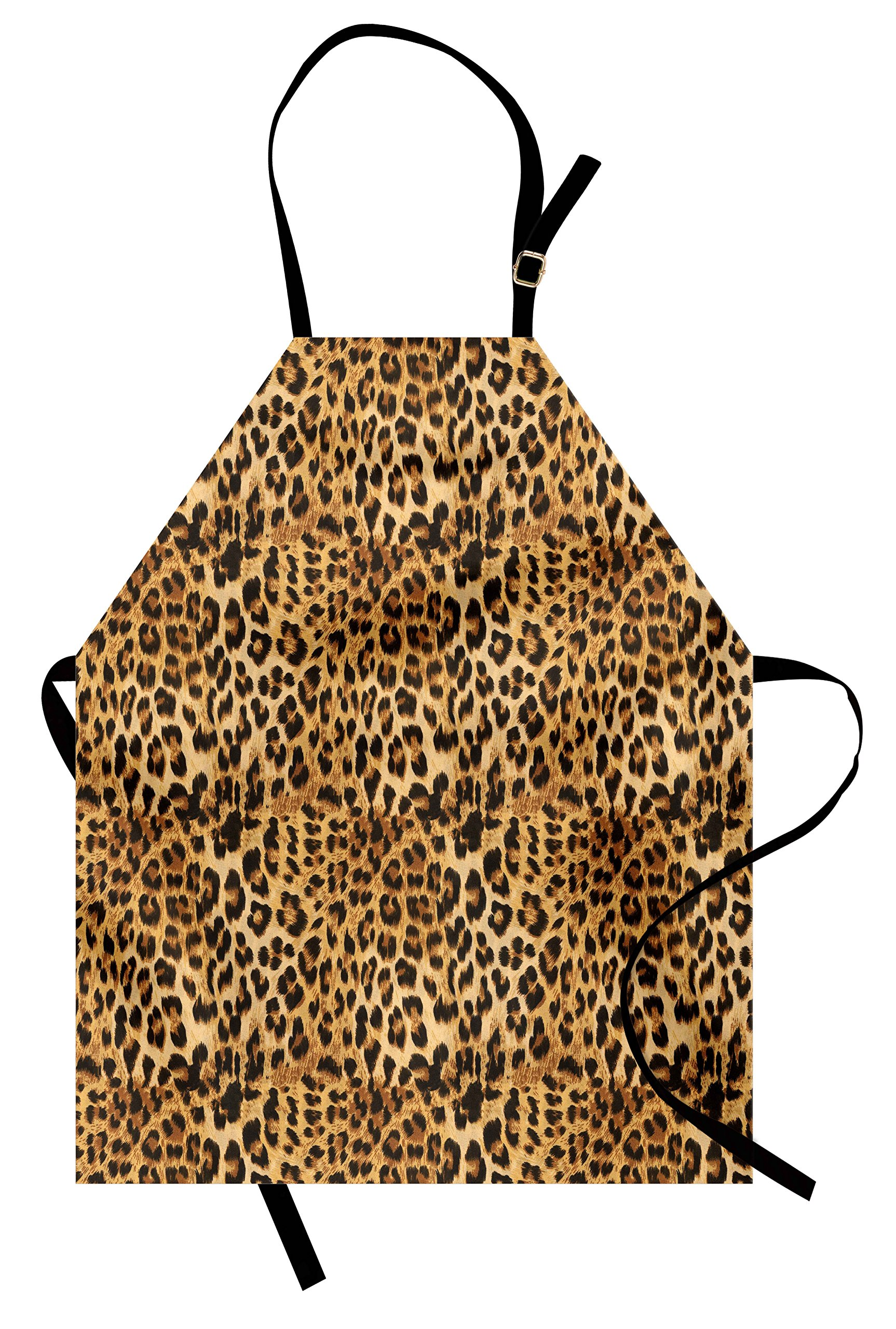 Ambesonne Brown Apron, Leopard Print Animal Skin Digital Printed Wild African Safari Themed Spotted Pattern Art, Unisex Kitchen Bib Apron with Adjustable Neck for Cooking Baking Gardening, Brown by Ambesonne