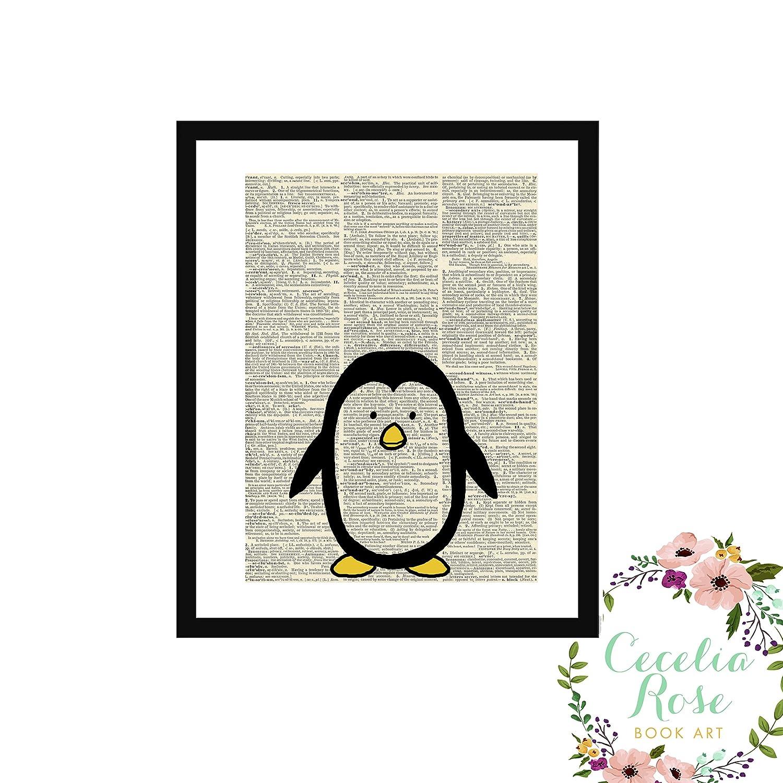 Penguin Nursery Upcycled Farmhouse Vintage Book Page Art Unframed Print