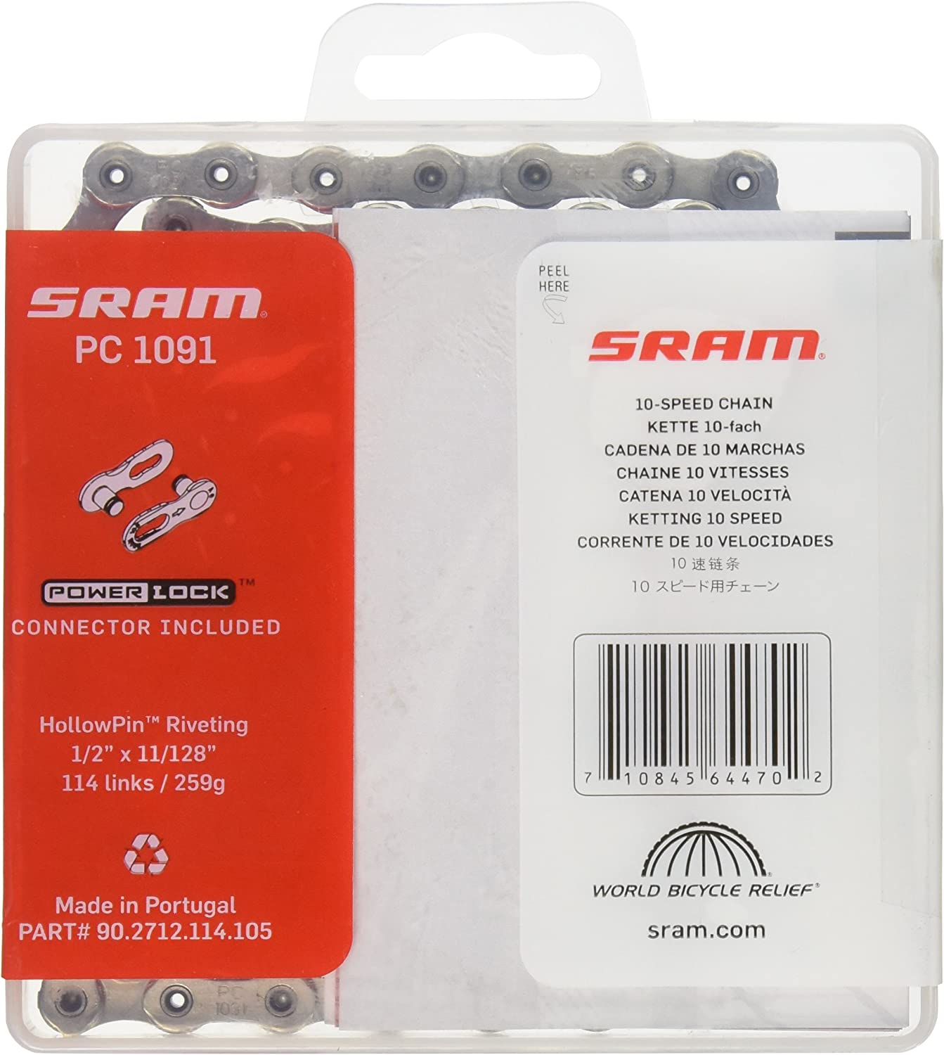 SRAM PC-1091R PC1091R 10 Spd Chain Hollow Pin 114 links CHAMFERED Outer Plates