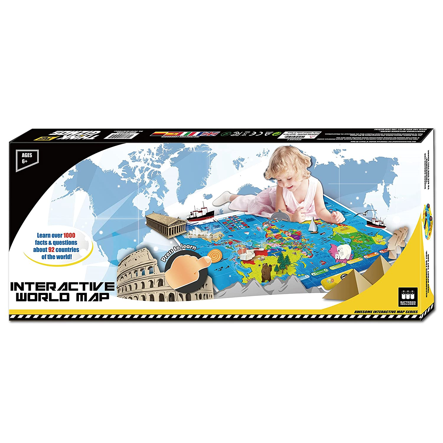 amazoncom interactive talking world map for kids tg661 push learn and discover over 1000 facts about our world ideal interactive learning toy gift