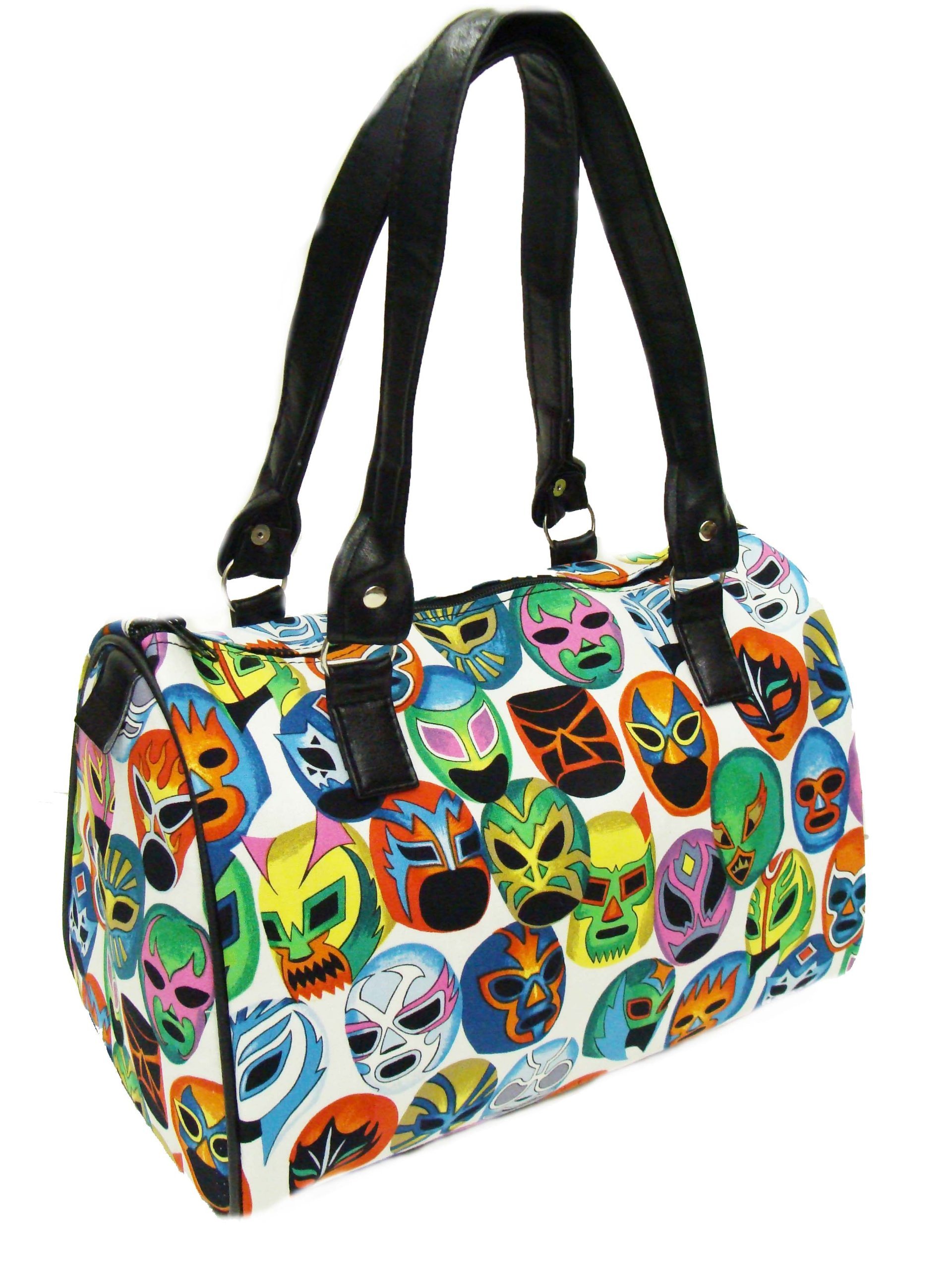 US Handmade Fashion MASCARAS DE PELEA Halloween Gothic LATINO Pattern Doctor Bag Satchel Style handmade purse cotton fabric, DRB 1545 by US HANDMADE FASHION