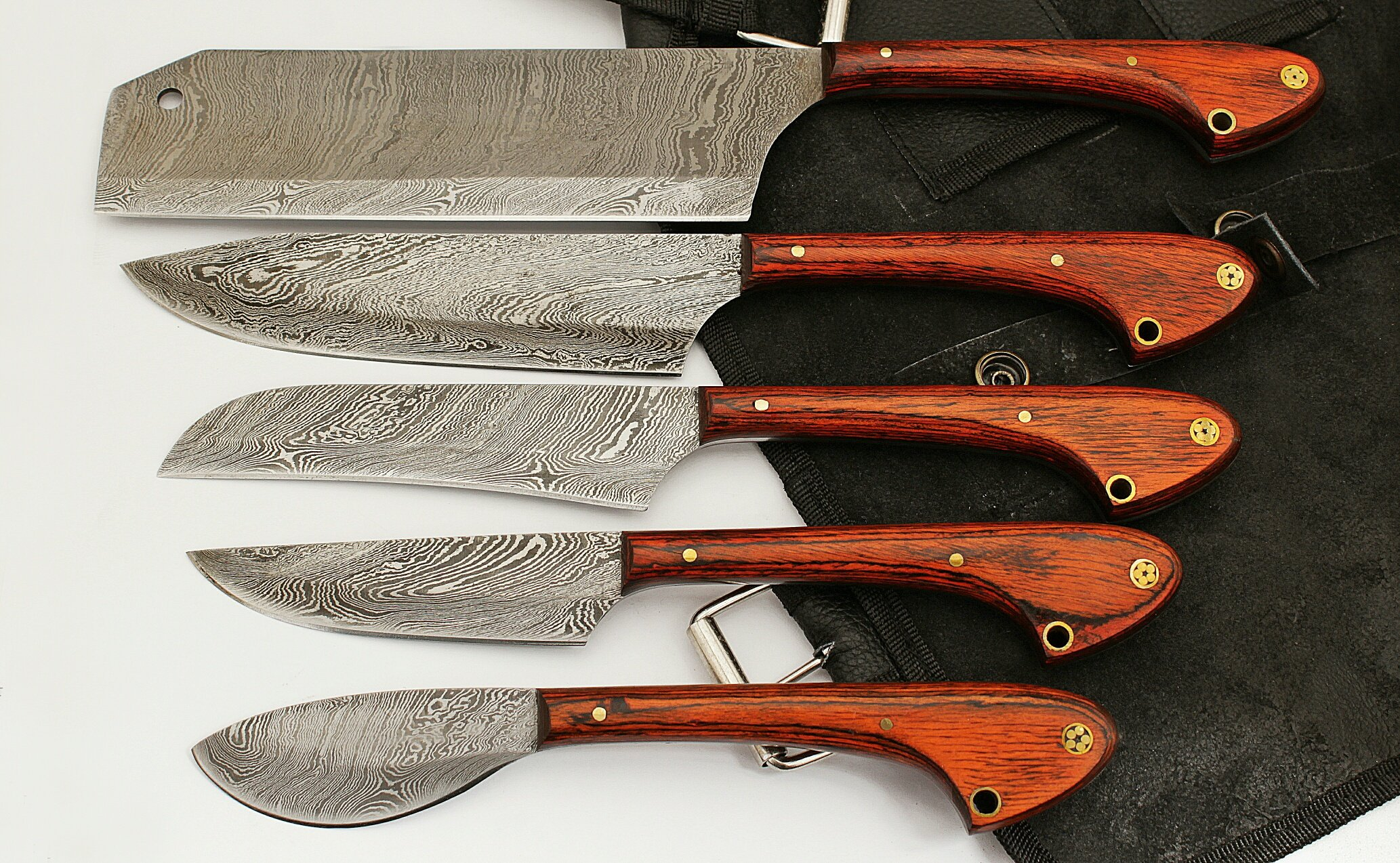 Custom Made Damascus Steel 5 pcs Professional Kitchen Chef Knife Set with 5 Pocket Case Chef Knife Roll Bag by GladiatorsGuild 1033 (Red)