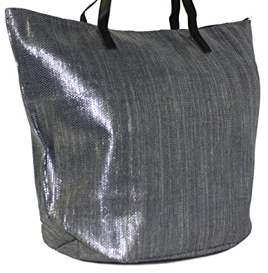 New Womens/Ladies Silver/Metallic Straw Tote/Shopper/Beach Bags ...