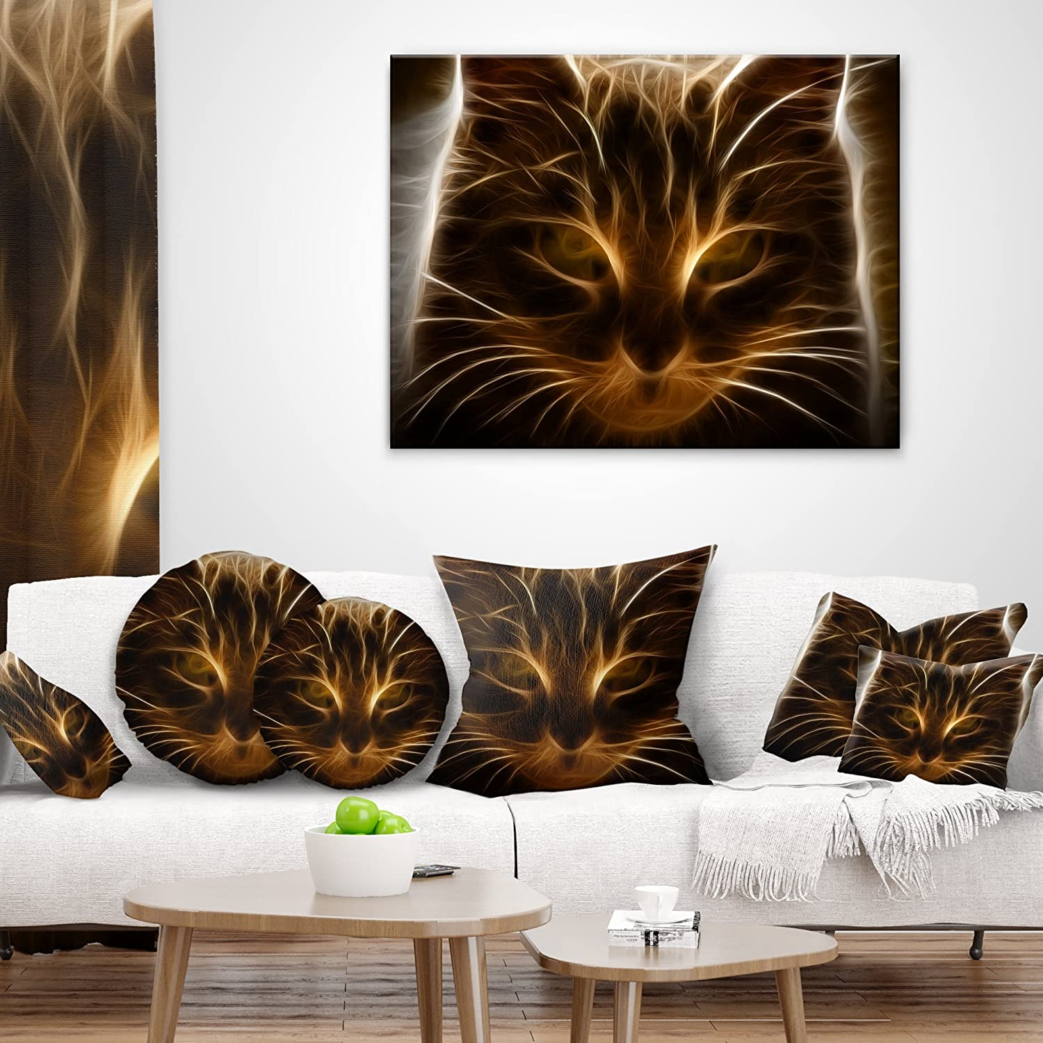 Insert Printed 18 x 18 Designart CU13356-18-18 Glowing Fractal Cat Illustration Animal Cushion Cover for Living Room Sofa Throw Pillow