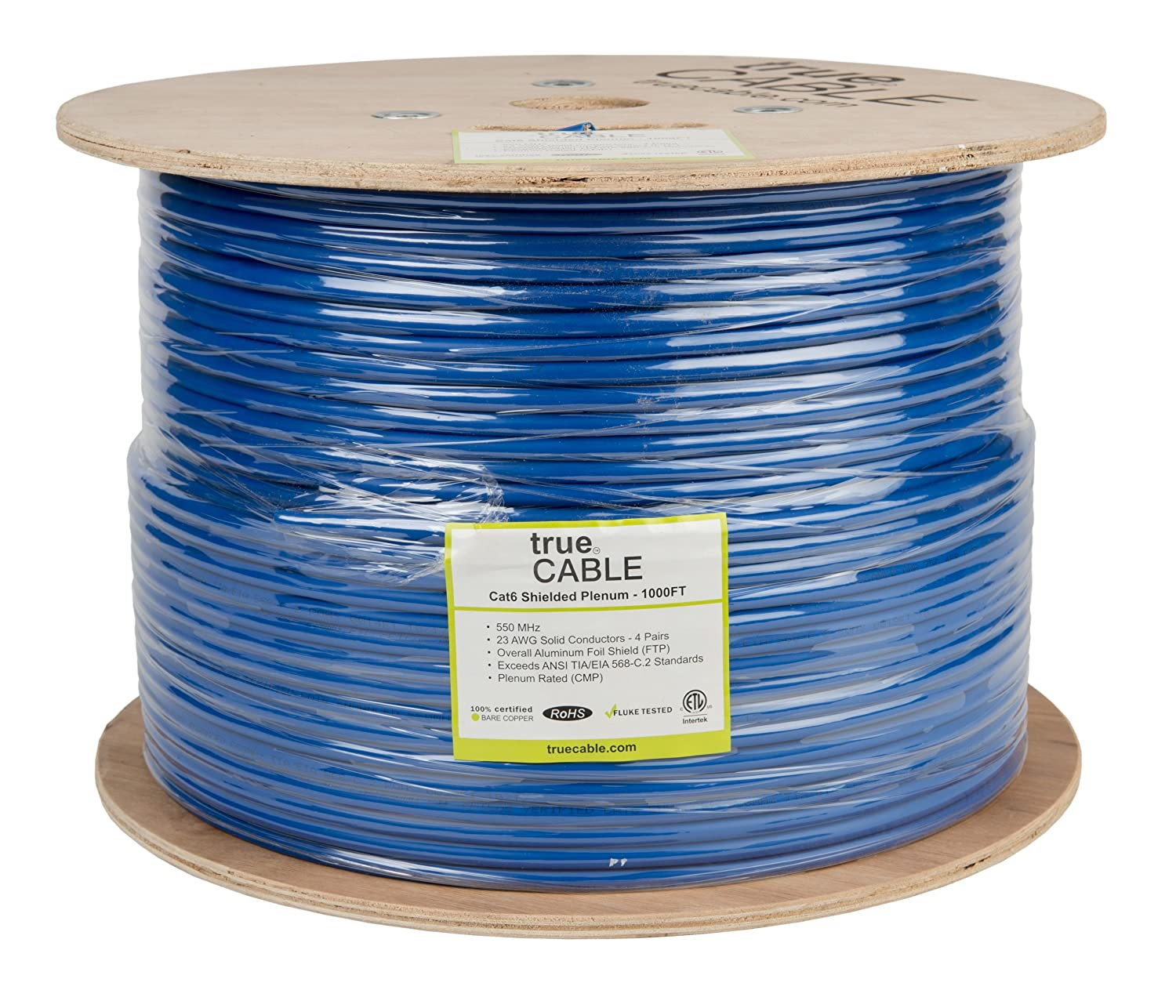 Shielded Cat6 Plenum (CMP), 1000ft, Blue, 23AWG Solid Bare Copper ...