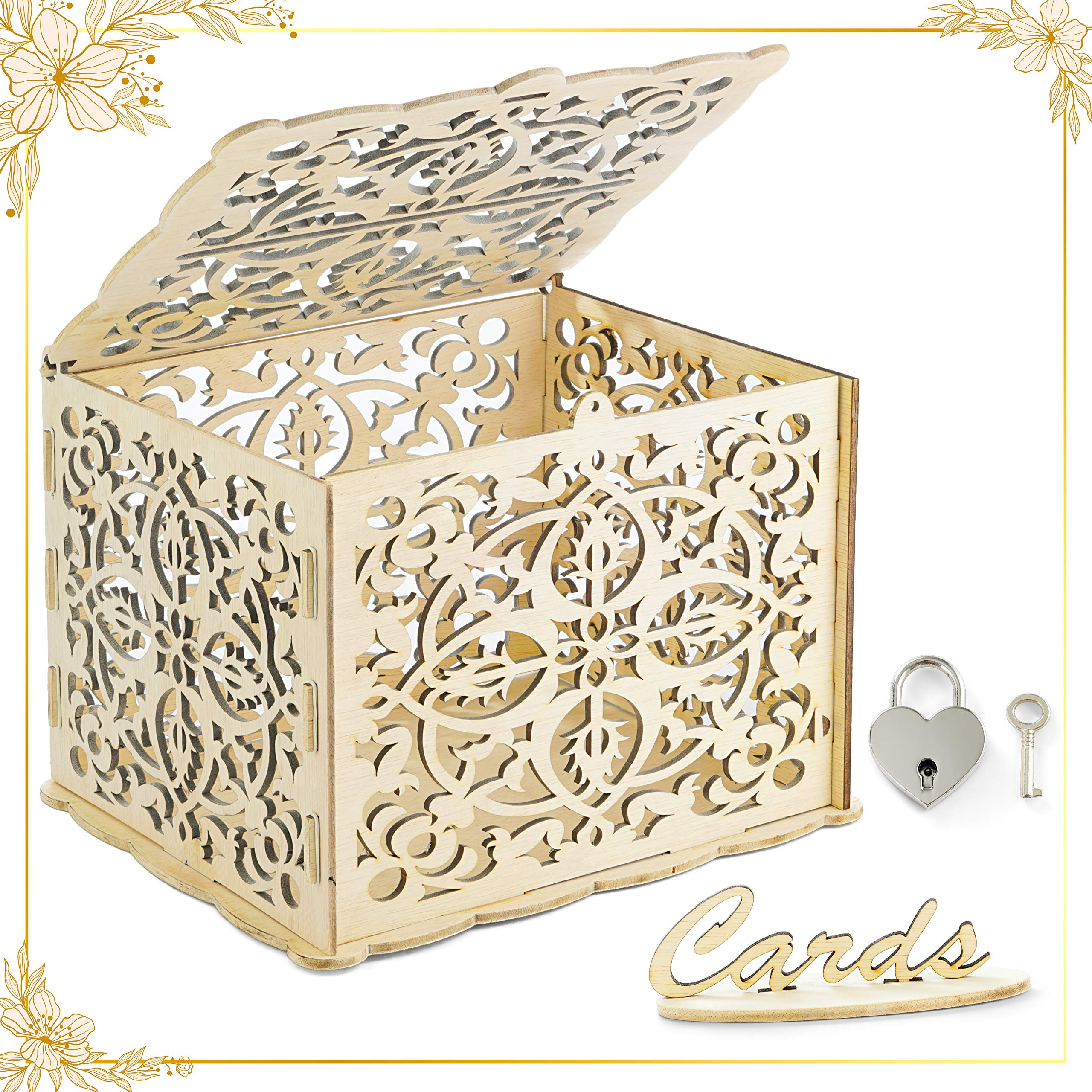 LUTANI Wedding Money Box with Lock for Cards - DIY Wedding Card Box - Wedding Gift Boxes for Baby Showers, Anniversary, Party, Decorations (Large)