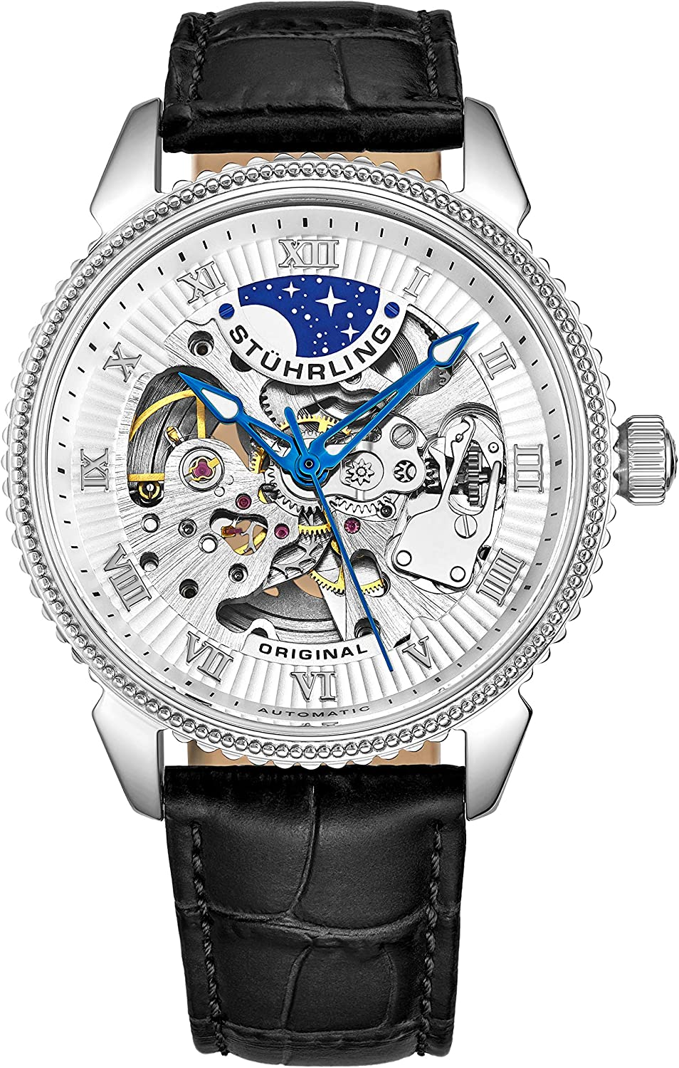 Stuhrling Original Mens Automatic Watch - Skeleton Watches for Men Self Winding Dress Watch with Premium Leather Band Mechanical Watch for Men