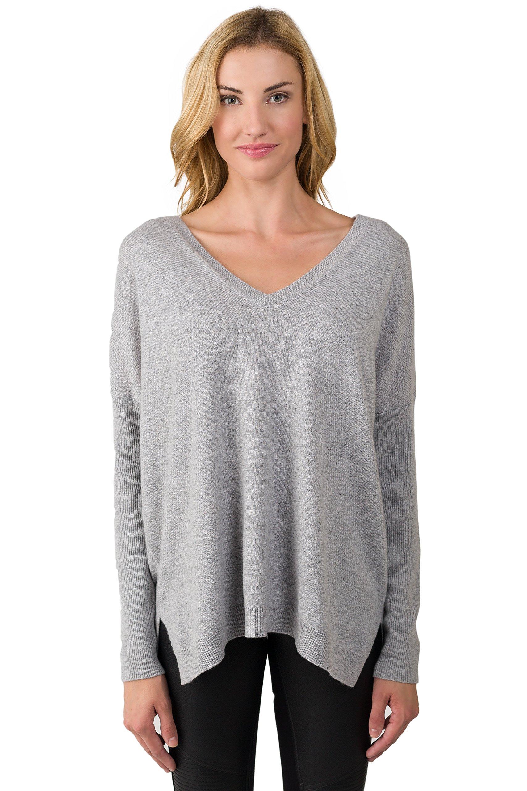J CASHMERE Women's 100% Cashmere Long Sleeve Oversize Double V Dolman Sweater Grey medium