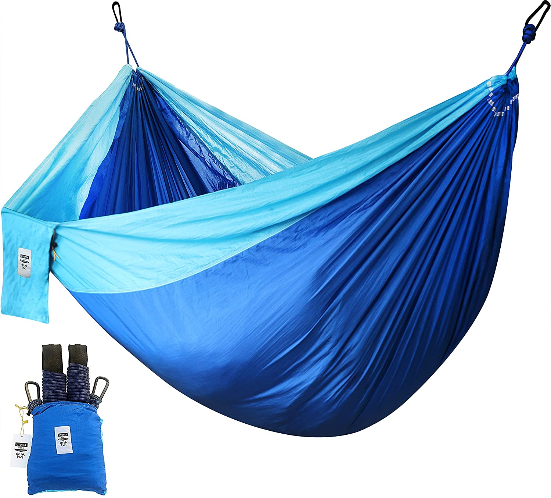 Supremeナイロンhammock-は最大2人のポーチまたは400ポンド – 裏庭、インドア、キャンプ、 – 耐久性、超軽量素材の強度&快適with Hangingストラップ – Utopiaホーム B01MQWVDCL ブルー ブルー