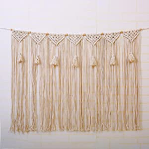 """laddawan Macrame Wall Hanging Wall Tapestry Large Bohemian Wall Decoration for Wedding Backdrop Curtain Fringe Garland Banner Bedroom Living Room Gallery Baby Nursery 40"""" L X 28"""" W (NO.5)"""