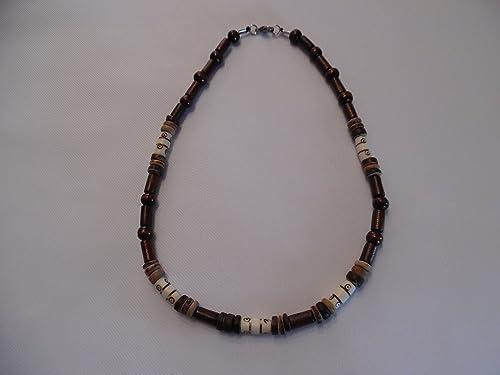 collier homme perle de bois