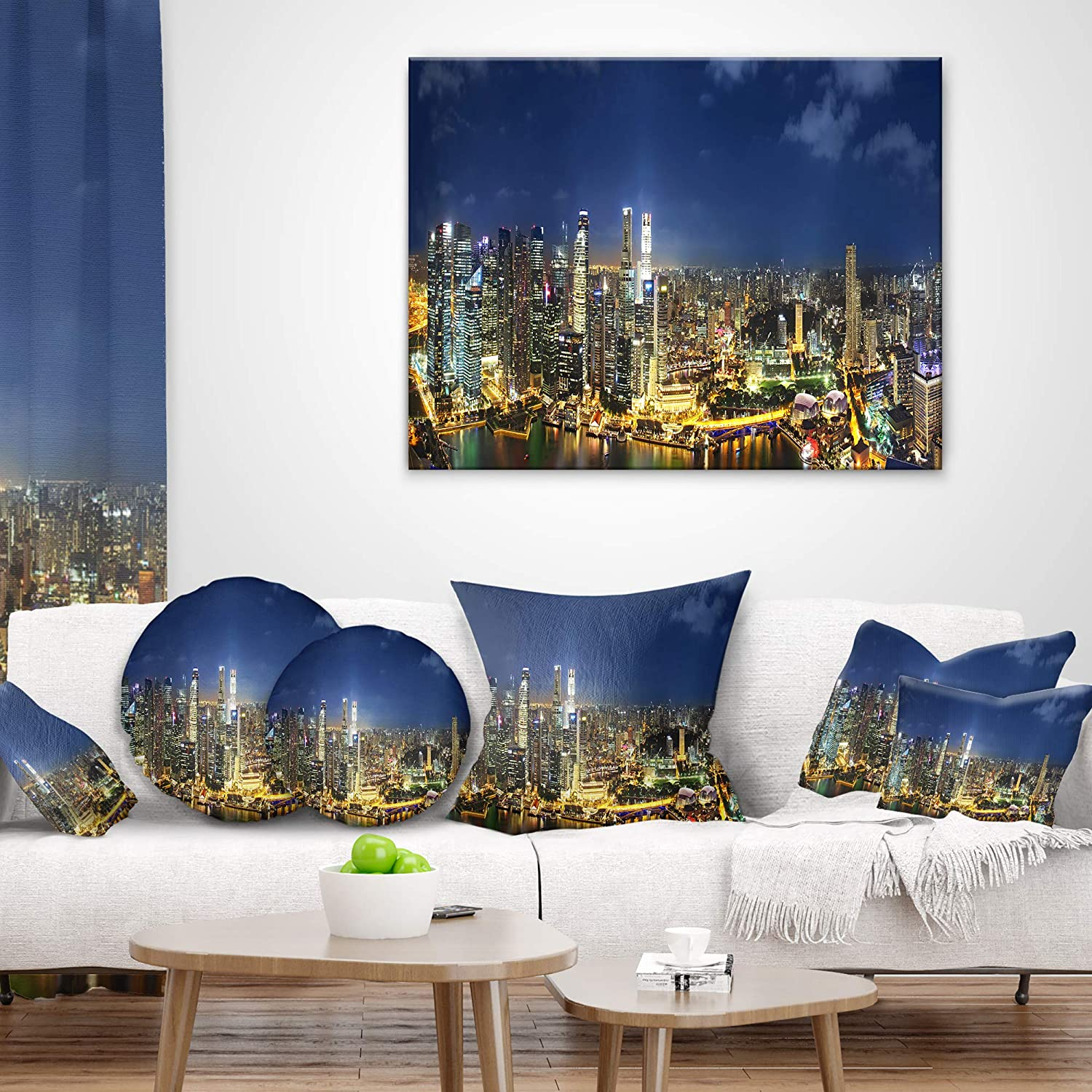 Sofa Throw Pillow 12 in in Insert Printed On Both Side x 20 in Designart CU10074-12-20 Singapore Skyscrapers Panorama Cityscape Lumbar Cushion Cover for Living Room