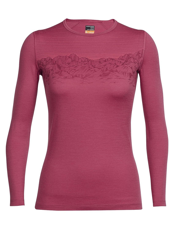Sunset Sky  Wild pink Icebreaker Women's Oasis Long Sleeve Crewe