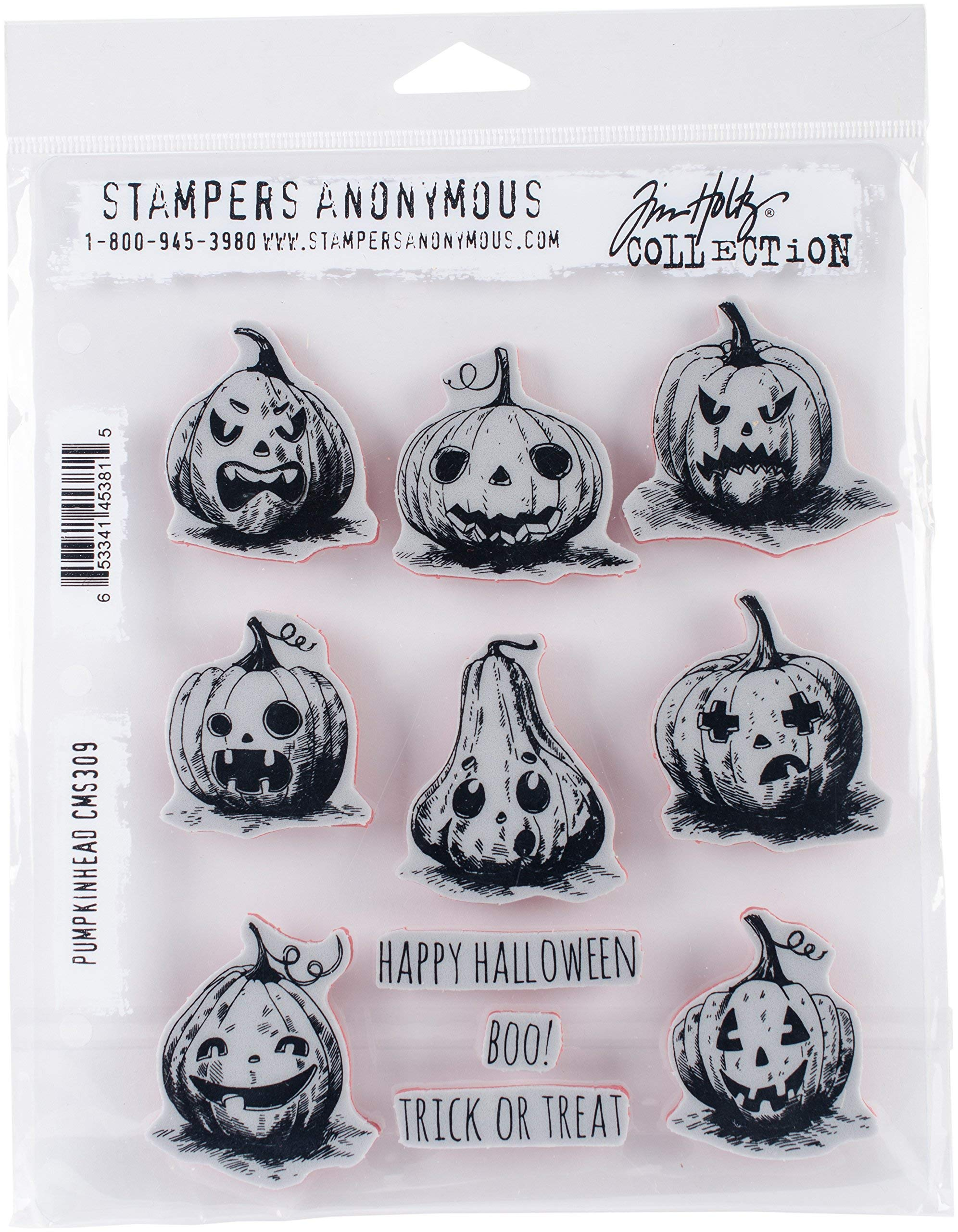 Stampers Anonymous''''Pumkinhead Tim Holtz Cling Stamps, 7'' x 8.5''