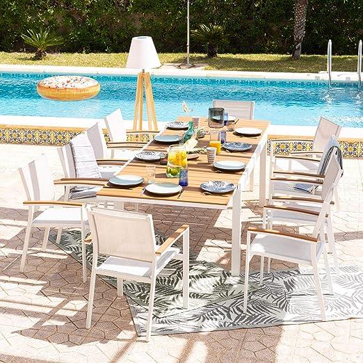 DLM Design Salon de Jardin 10 Places Aluminium Blanc et Bois ...