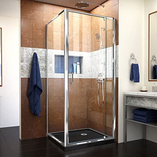 DreamLine Flex 32 in. D x 32 in. W x 74 3 4 in. H Semi-Frameless Pivot Shower Enclosure in Chrome with Corner Drain Black Base, DL-6714-88-01CL