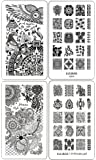 Ejiubas Nail Stamping Plates Double-sided Design Henna Floral Egypt Style Image Manicure Stamp Collection Kit - Pack of 2 Pcs with Card Case