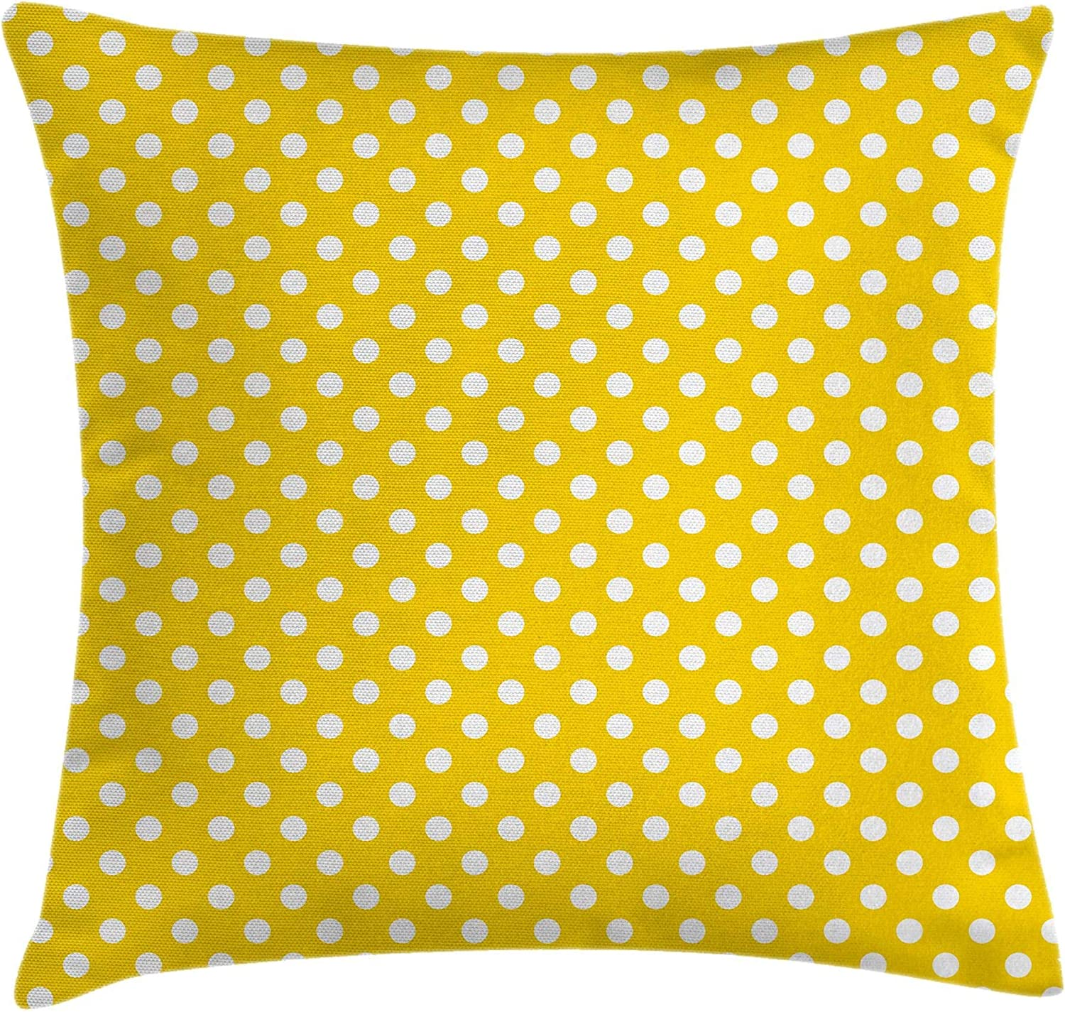 Ambesonne Yellow Throw Pillow Cushion Cover Picnic Inspired 50s 60s 70s Themed Polka Dot Retro Spotted Pattern Print Decorative Square Accent Pillow Case 24 X 24 Yellow White Home Kitchen