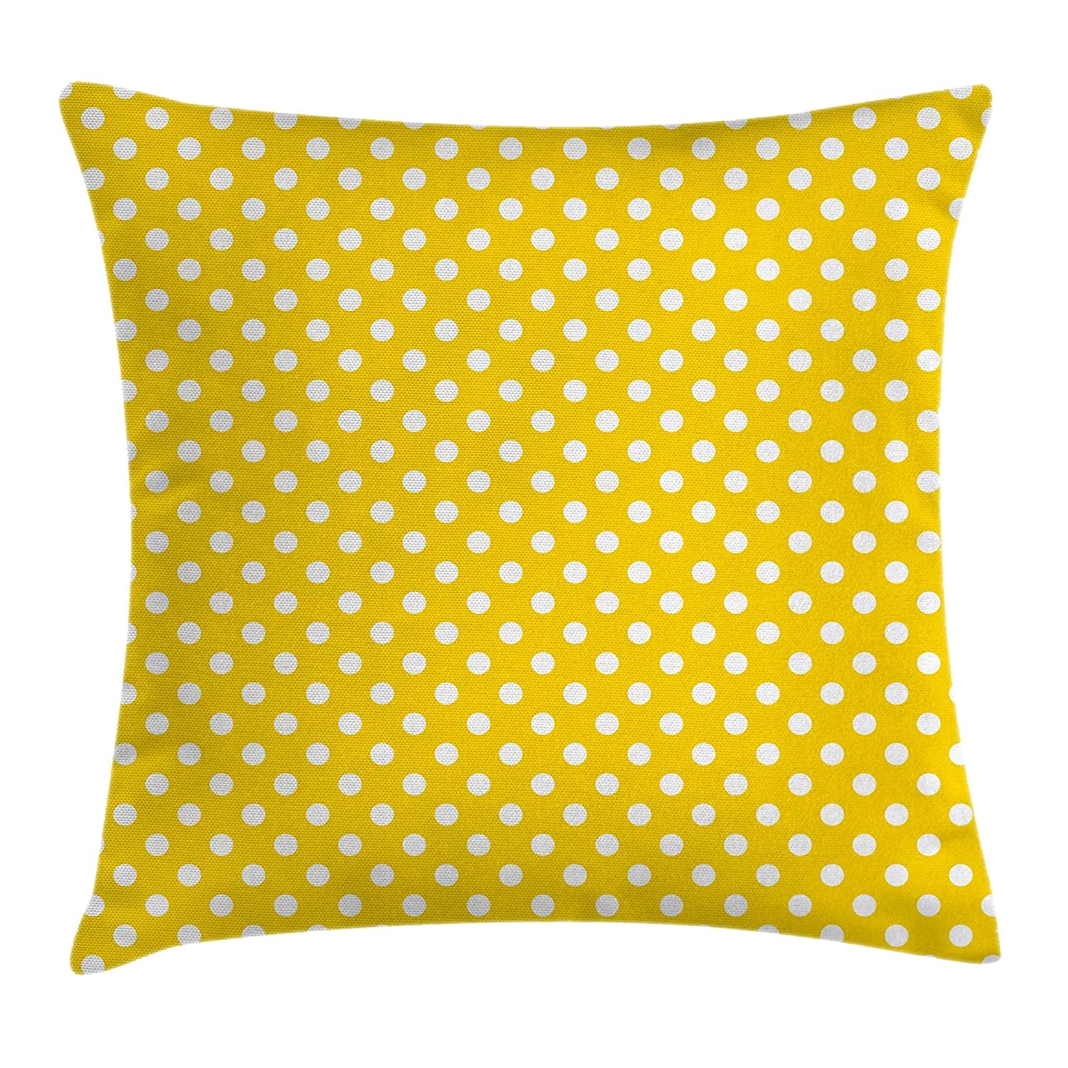 Ambesonne Yellow Decor Throw Pillow Cushion Cover by, Picnic Inspired Cute 50s 60s 70s Themed Polka Dot Spotted Pattern Print, Decorative Square Accent Pillow Case, 16 X 16 Inches, Yellow and White