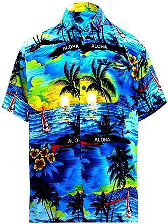 ca1f3780 LA LEELA Shirt Casual Button Down Short Sleeve Beach Shirt Men Aloha ...