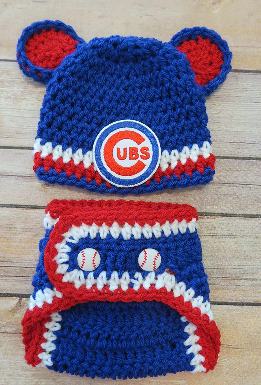 18d928a702d Amazon.com  Crochet Chicago Cubs Hat and Diaper Cover Photo Prop set ...
