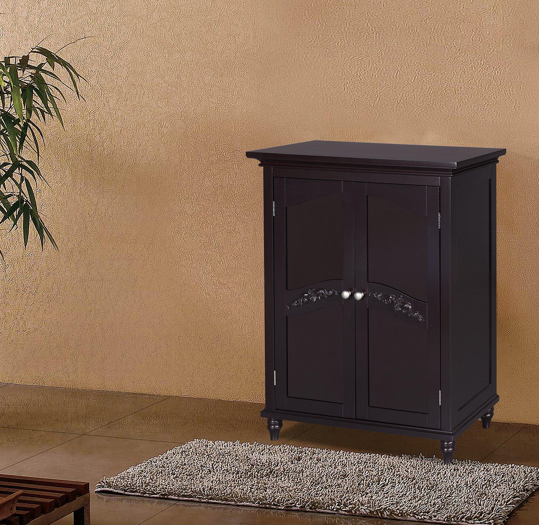 Elegant Home Fashion Vera 2-Door Floor Cabinet, Dark ...