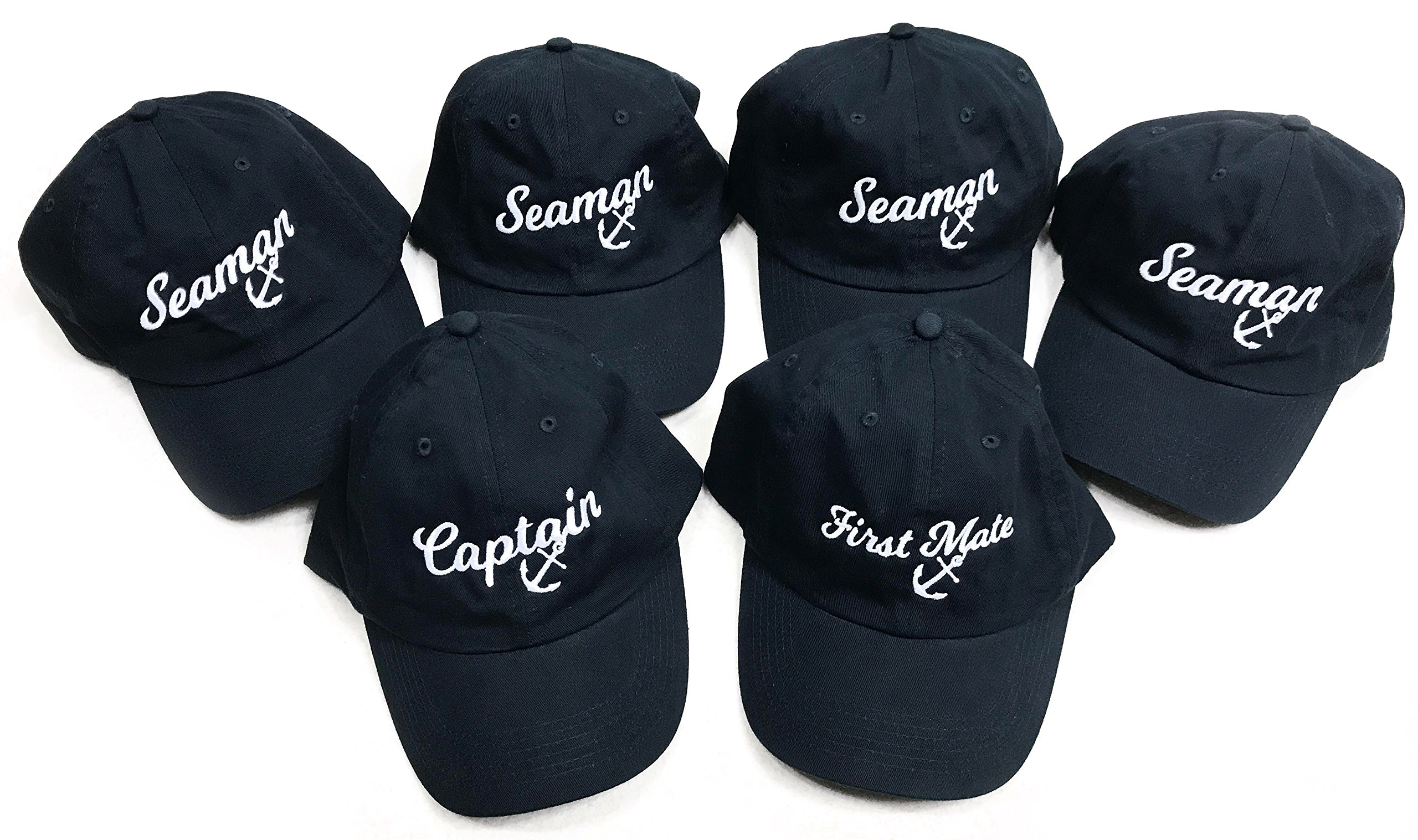 Captain, First Mate, 4 Seamen | Matching Boat Crew Boating Baseball Caps Navy by Ann Arbor T-shirt Co.