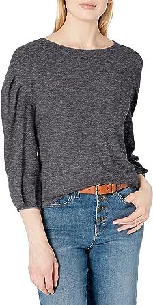 Amazon Brand - Daily Ritual Women's Cozy Knit Bateau Pleat-Sleeve Top