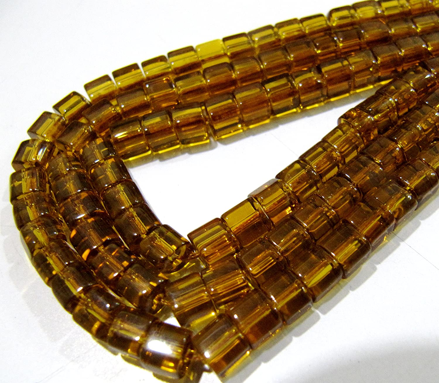 977b765035d Amazon.com  Best Quality Hydro Quartz Citrine Color Beads   5mm Size Smooth  Box Shape Beads   Strand 10 inch long   55 to 60 approx Beads per Strand   Arts