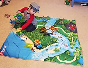 "Toy Dinosaur Play Mat for Toy Animals |Jurassic PlayMat | Foldable Solution |Large Size 54"" x 54"" 