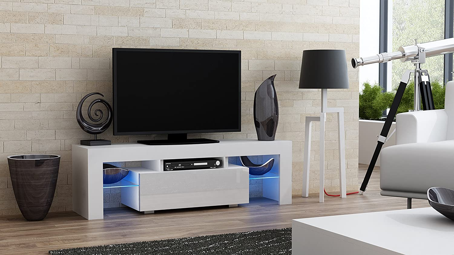Amazon TV Stand MILANO 130 Modern LED Cabinet Living Room Furniture Tv Console Fit For Up To 55 Flat Screens Capacity