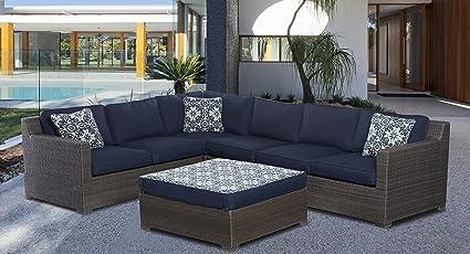Hanover Metropolitan 5 Piece Outdoor Lounge Set, Navy Grey Wicker