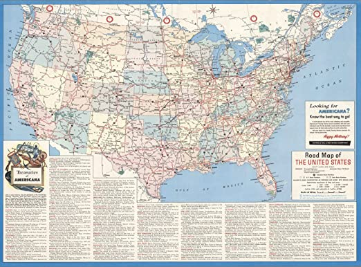 Amazon.com: Historic Map | Road map of The United States ...