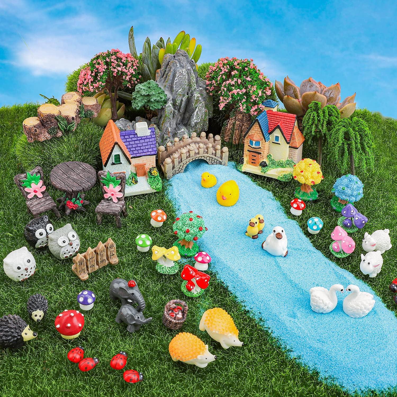 Miniature Fairy Garden Accessories, 61 Small Pieces DIY Resin Ornaments with Tiny Ladybugs, Animal, Mushroom, House, Bridge, Tree Figurines, Terrarium Bonsai Succulent Plant Micro Landscape Decor Kit