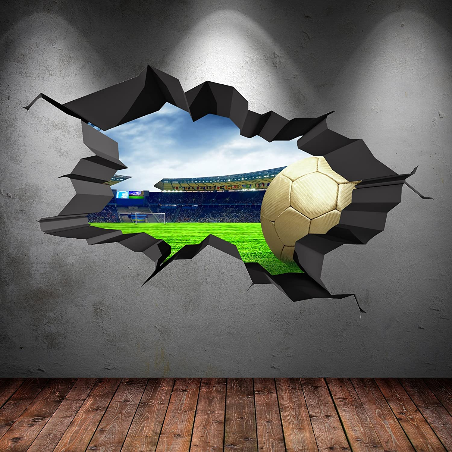 3d football full multi colour cracked stadium wall art stickers 3d football full multi colour cracked stadium wall art stickers decal boys graphic mural print self adhesive wsd63 amazon kitchen home amipublicfo Images