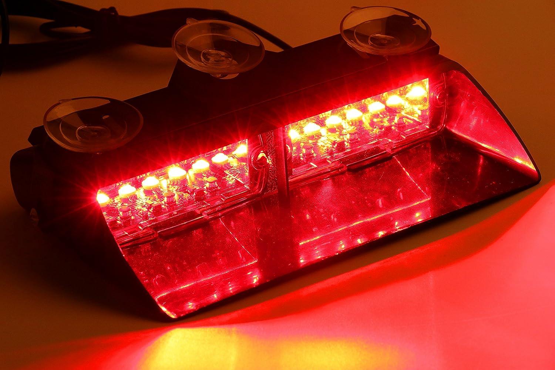 Red Jackey Awesome Car 16-led 18 Flashing Mode Emergency Vehicle Dash Warning Strobe Flash Light