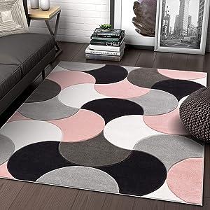 "Well Woven Hilda Blush Pink Modern Geometric Circles & Boxes Pattern Area Rug 8x10 (7'10"" x 10'6"")"