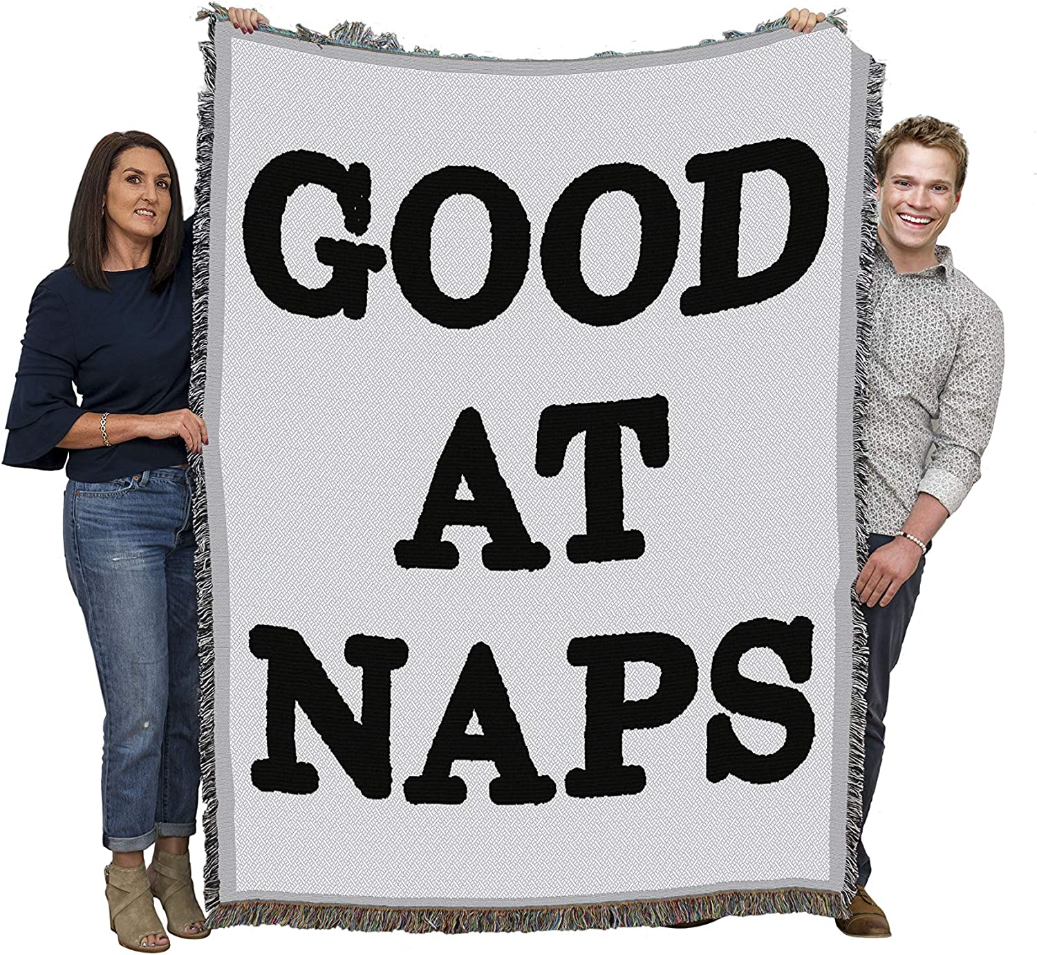 Good at Naps - Cotton Woven Blanket Throw - Made in The USA (72x54)