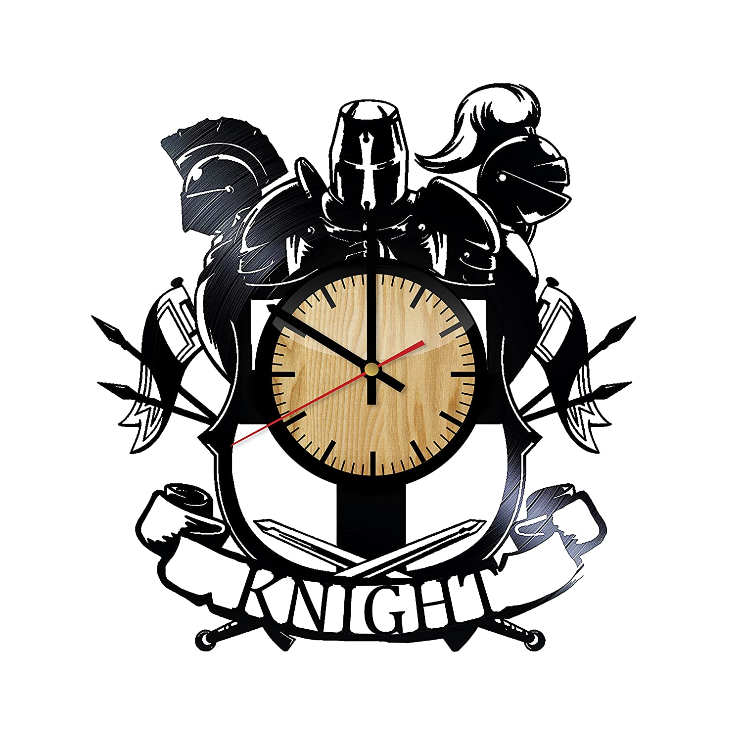 Knight Armor Vinyl Wall Clock Unique Birthday Handmade Gift for any Occasion Wall D/écor Ideas for any Space Anniversary Wedding