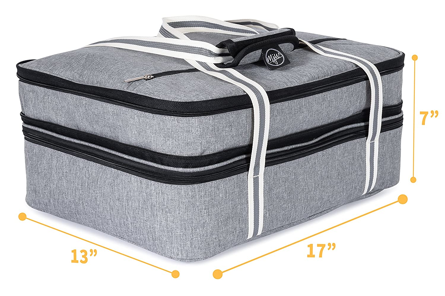 a4b4b3e356153f MJW Extra-large Double Layered Expandable Insulated Casserole Carrier and  Lasagna Holder, Hot and Cold Thermal Lunch Tote Bag for Potluck, Picnic, ...