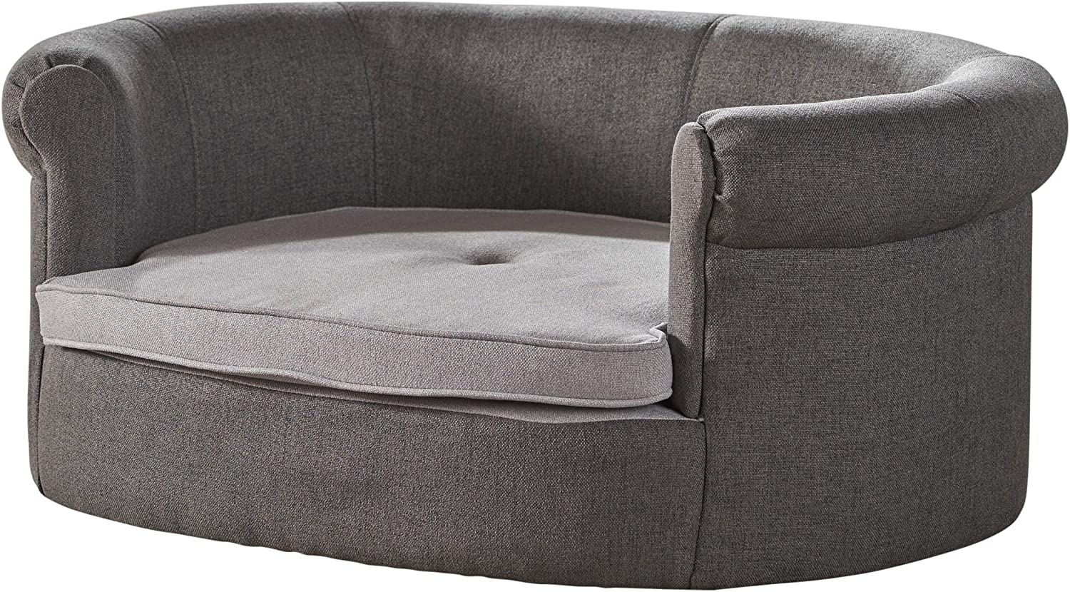 Christopher Knight Home Cassie Oval Charcoal Light Grey Fabric Dog Sofa