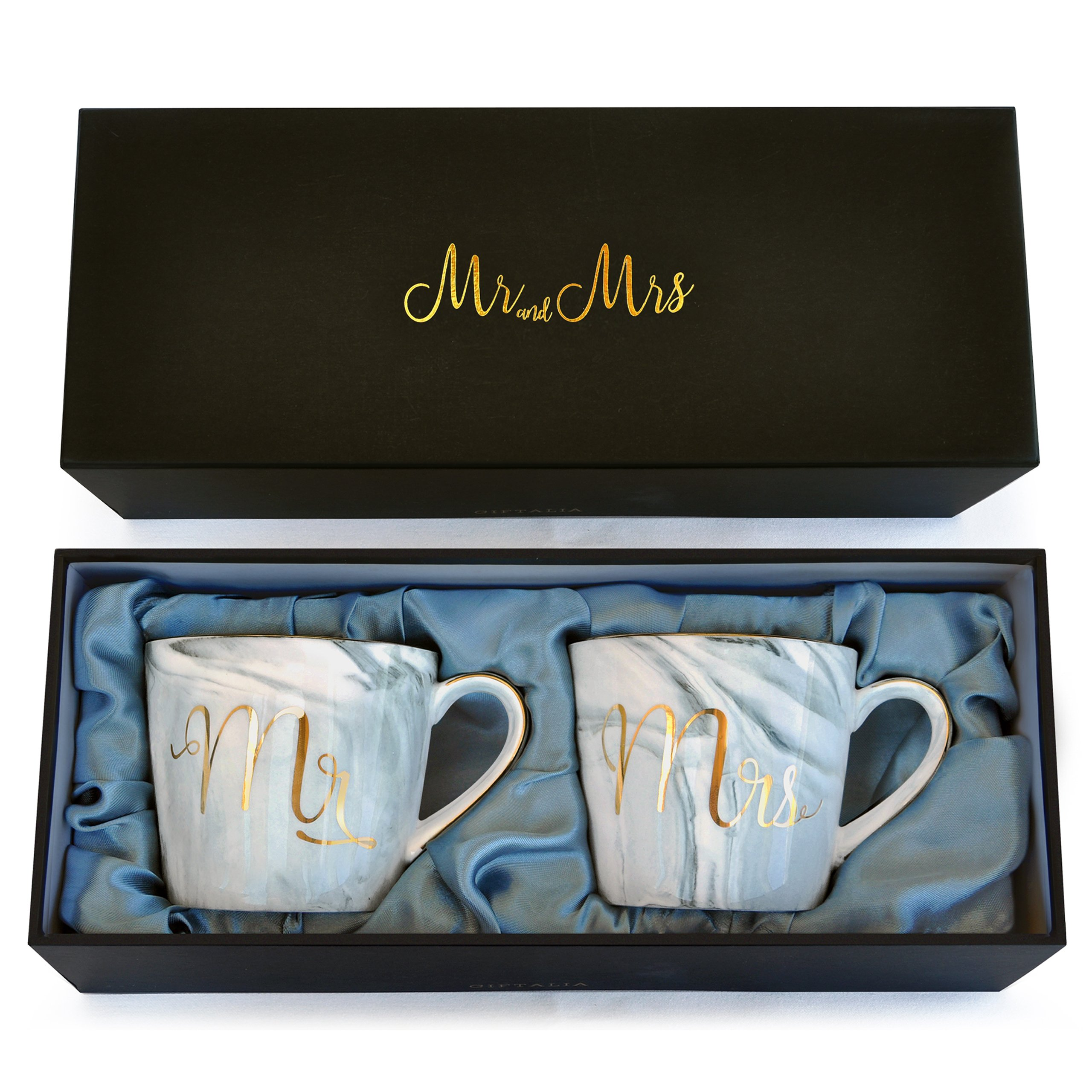 Wedding Gift - Mr and Mrs Mug Set - Classy and Elegant Gift Box with 2 Marble/Gold Tea or Coffee Cups - Beautiful Couples Anniversary, Engagement or Wedding Present for Bride and Groom - His and Her's