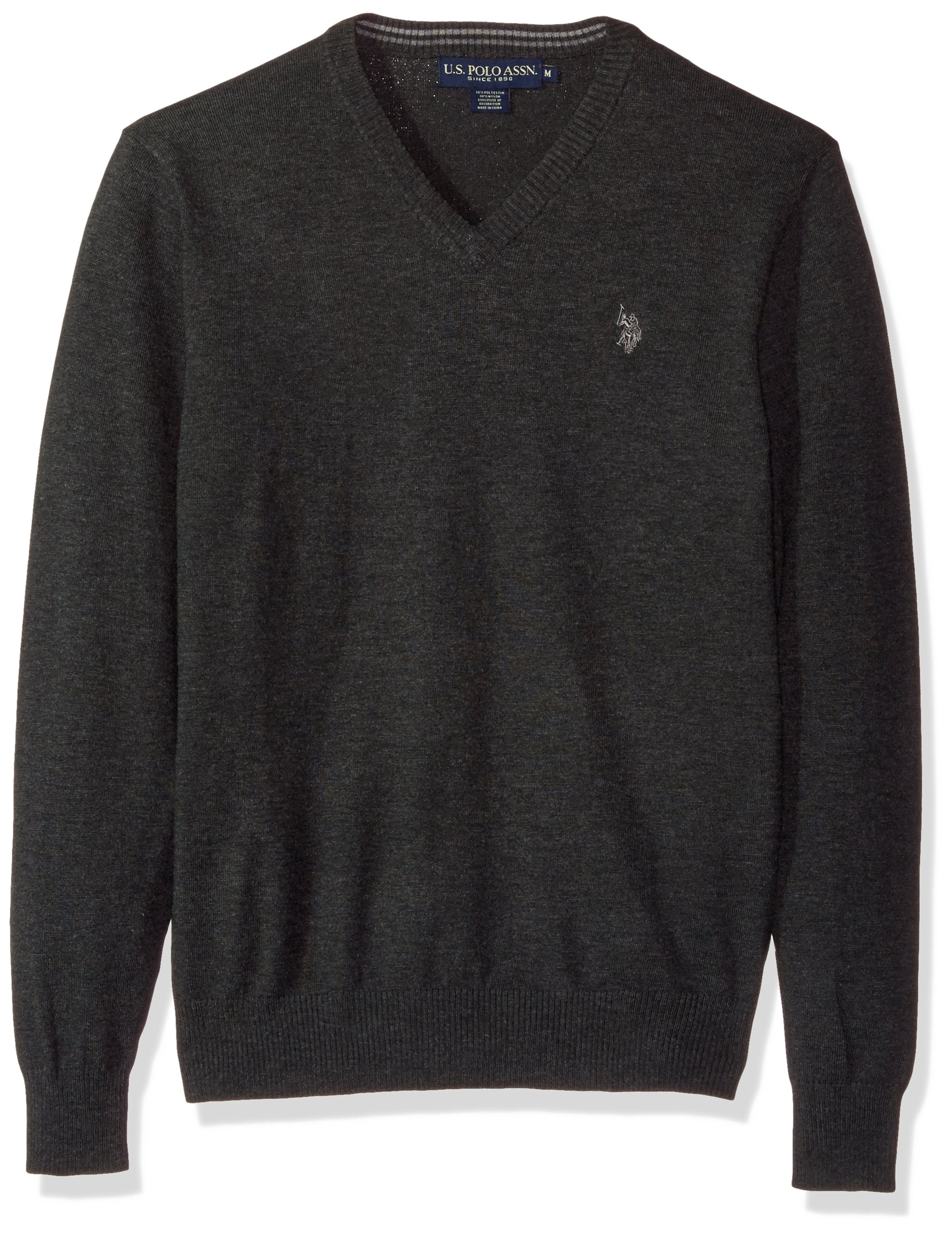 U.S. Polo Assn. Men's Stretch Fabric Solid V-Neck Sweater, Charcoal Heather, X-Large