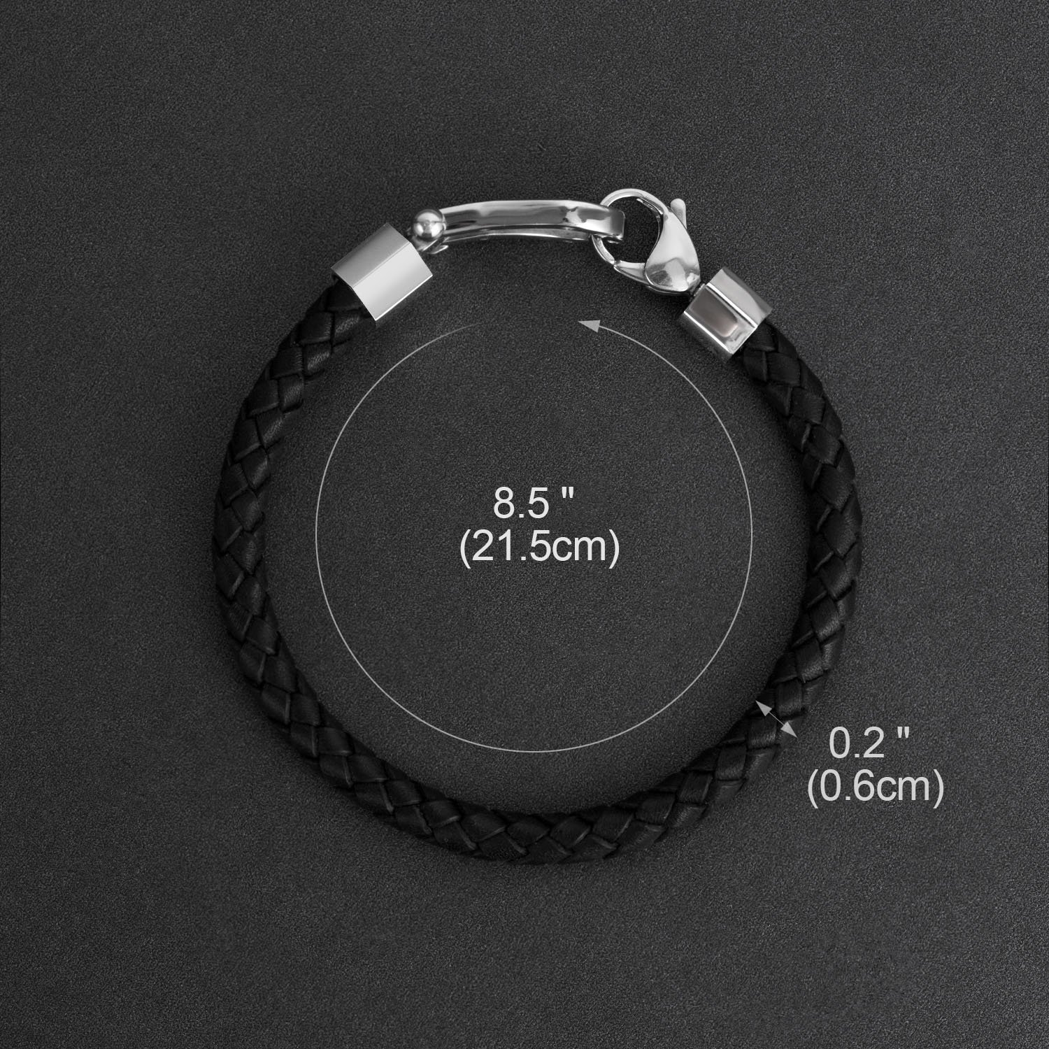 ZD-jewelry Mens  Leather Bracelet Cowhide Braided Good Luck Horseshoe Stainless Steel, Black Wrist Cuff Bangle Lobster Clip, Bracelet For Men 8.5 inch by ZD-jewelry (Image #4)
