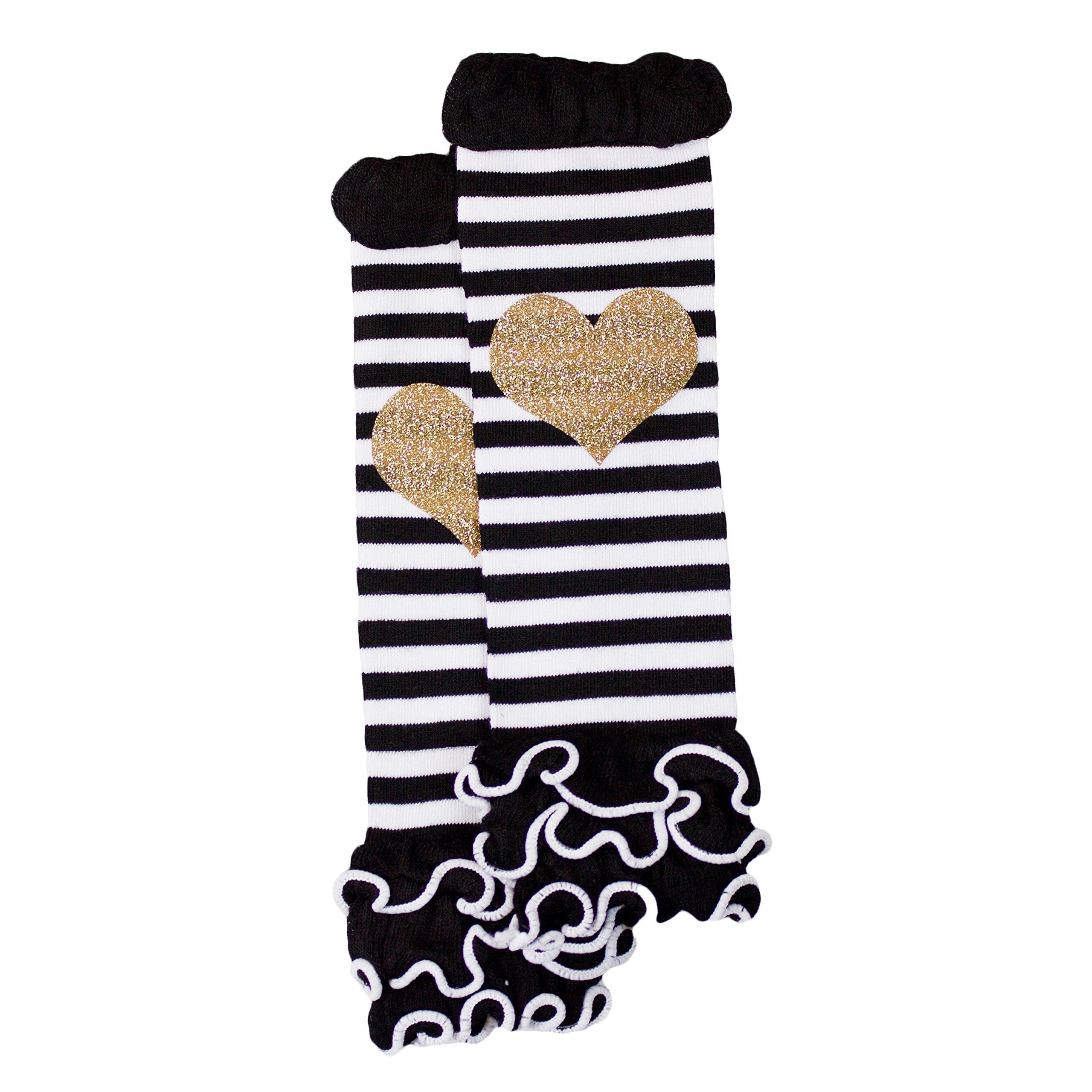 Gold Glitter Heart Black and White Stripe Ruffle Baby Leg Warmer