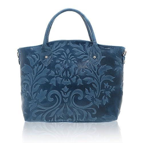 bec6a68543caa Chicca Borse - Handbag Borsa a Mano da Donna Realizzata in Vera Pelle Made  in Italy - 35 x 28 x 11 Cm  Amazon.it  Scarpe e borse